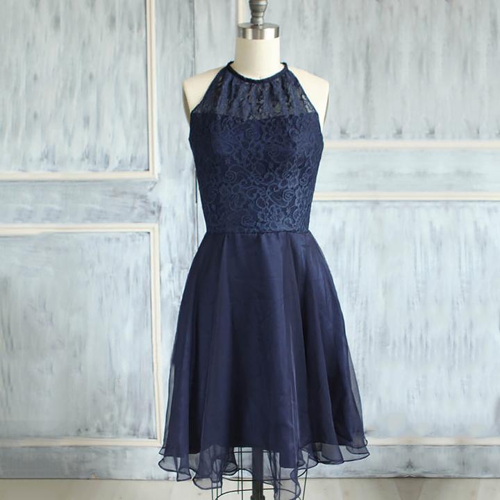 0eff231161 Modest high neck lace bridesmaid dresses elegant dark navy knee length bridesmaid  dresses short bridesmaid dress