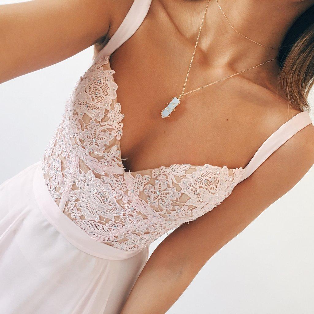 Elegant A-line V-neck Long Chiffon Baby Pink Long Prom Dress Evening Dress 03ee2b9f1