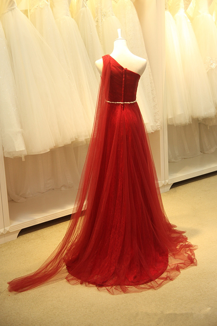 2098fb2988 Charming red one shoulder Tulle Prom dress · romanticdress · Online ...