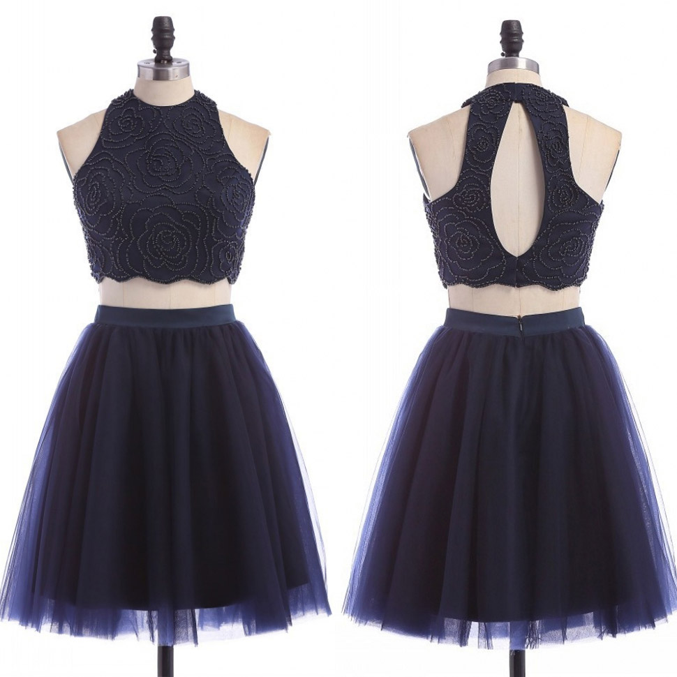 eb668704b26 Sweet Jewel Neck Navy Blue Short Prom Dress, Sexy Floral Beaded Two Piece  Tulle Mini Prom Dress, A-line Crop Top Key Hole Back Prom Dress, #020102465  on ...
