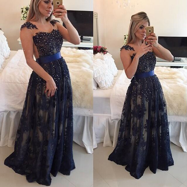 04de8a65b Illusion A-line Navy Blue Long Prom Dress