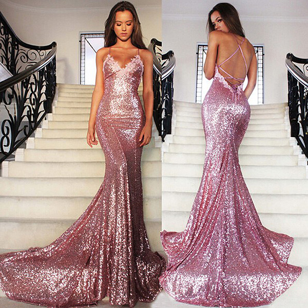 Sexy Spaghetti Straps Pink Glitter Prom Dress Sparkling Sequined