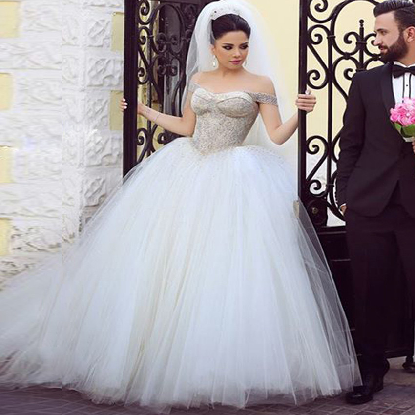 W29 Luxury Ball Gown New Style Wedding Dresses 2016 Tulle Skirt Off ...