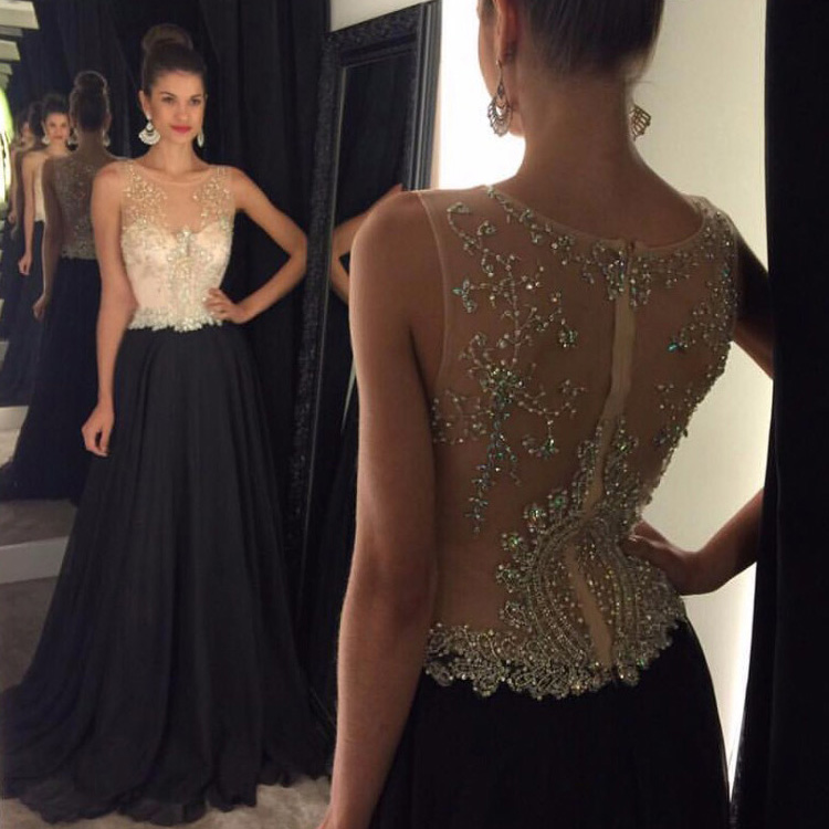 2017 new black Prom Dresses,Beaded Prom Dresses, chiffon Prom ...