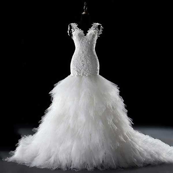 Luxury Wedding Dresses With Feather Ruffles Fabulous V Neck Bridal Gown With Chapel Train Royal Trumpet Lace Wedding Dress 00021291 Millybridal Online Store Powered By Storenvy