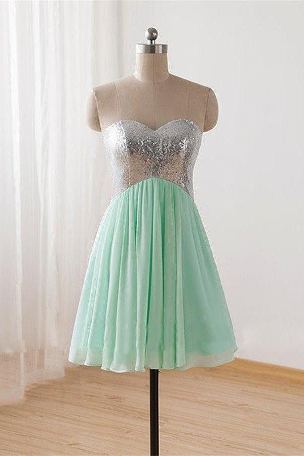 Mint Sequin Prom Dress