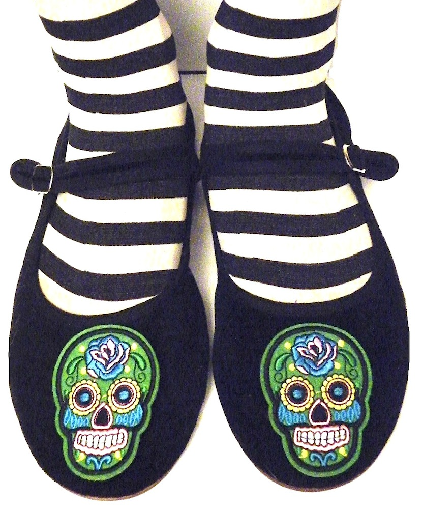 583ec30e18a Green Sugar Skull Embroidered Womens Shoes Choose your Own Colors Size 5 -  11