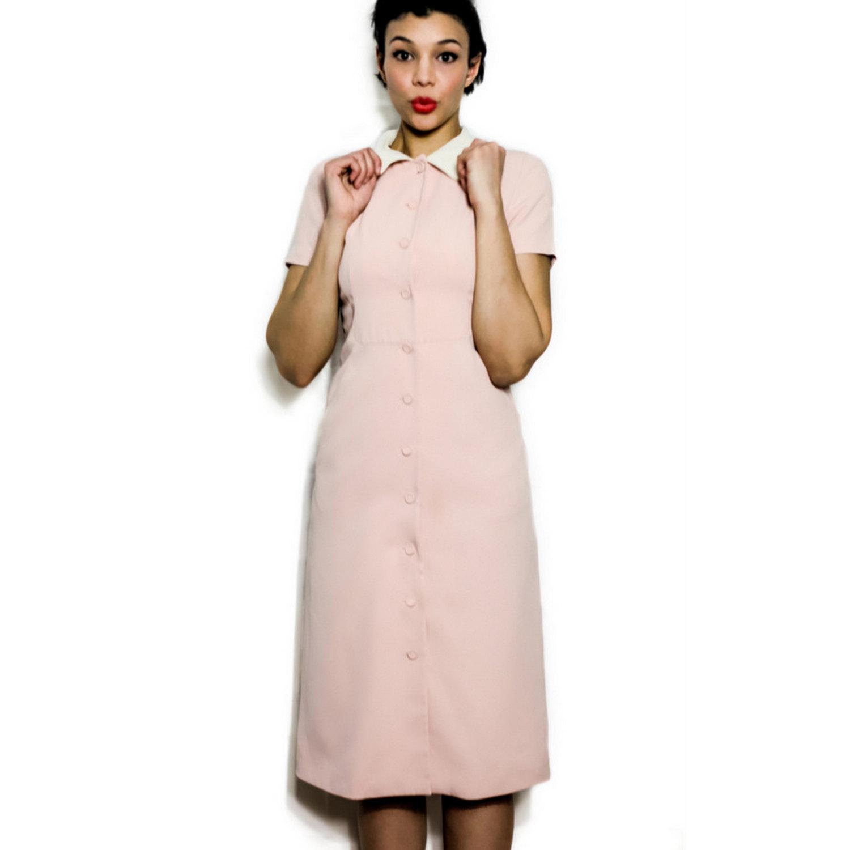 Lovewore Vintage Medium Large M L 1950s Mod Dress Pink