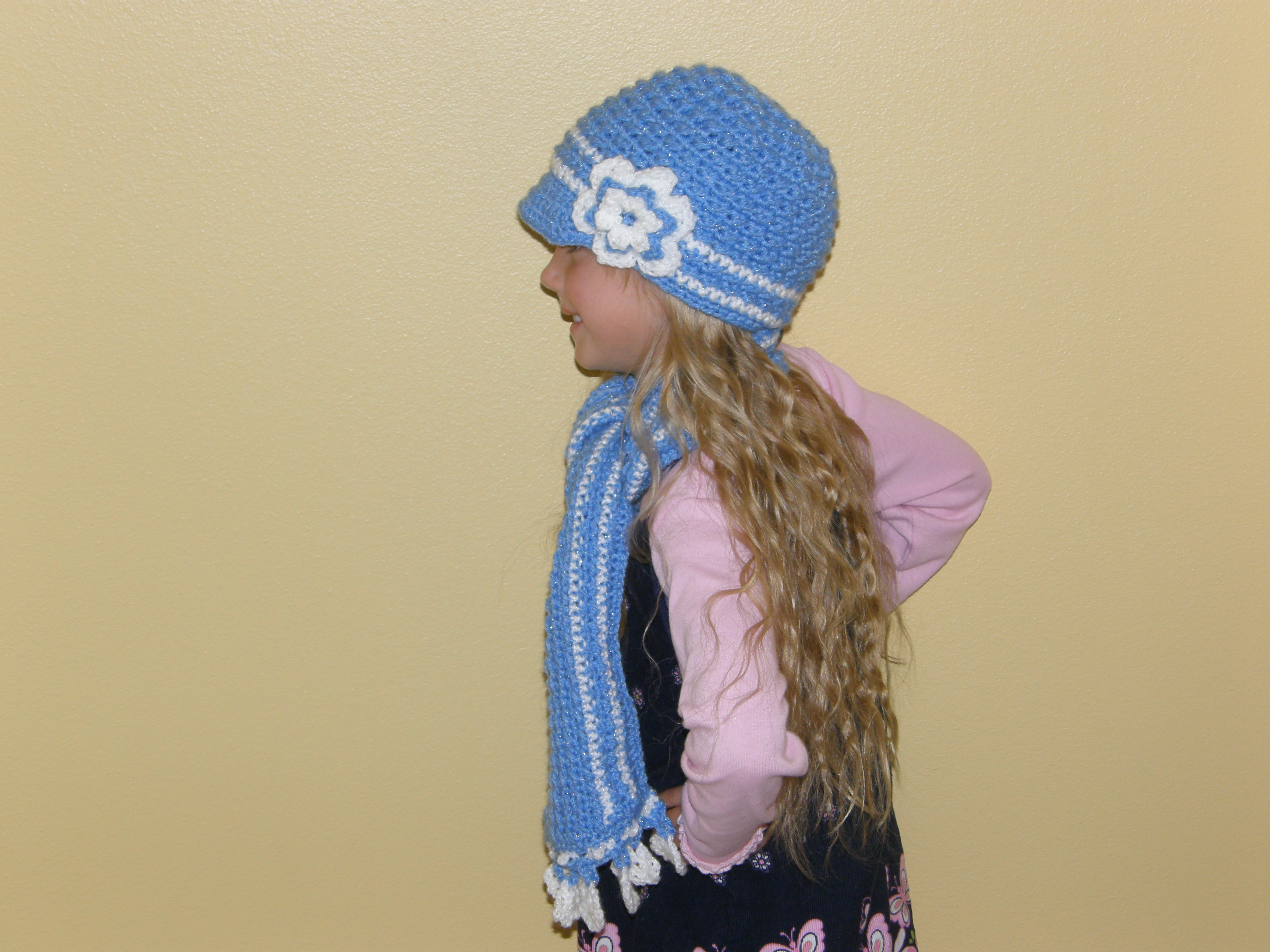 8c53e2f6 ... Custom Order-Striped Textured Newsboy Hat with Flower - Thumbnail 3 ...