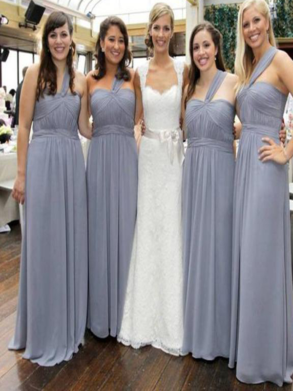 9200d88594a4 Long grey bridesmaid dress, one shoulder bridesmaid dress, chiffon  bridesmaid dress, simple bridesmaid