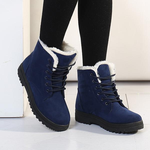 ... Blue Women Winter Keep Warm Flat Plush Snow Boots Ankle Short Boots -  Thumbnail 2 ... a60ff44c96bc