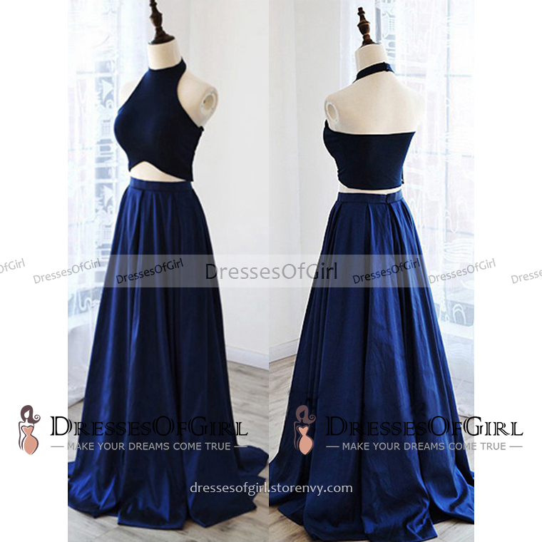 40fb88cd3 High Neck Halter Two Piece Long Prom Dress