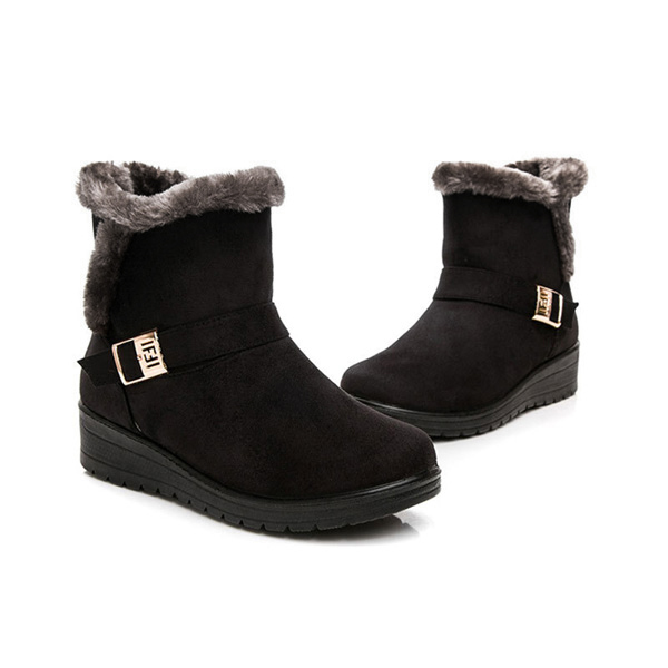 586fcfe353779 Black Women Winter Snow Boots Round Toe Flat Boots Cotton Ankle Boots -  Thumbnail 1 ...