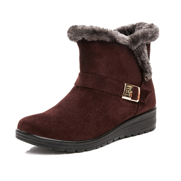 6d81ec53069de Brown Women Winter Snow Boots Round Toe Flat Boots Cotton Ankle Boots