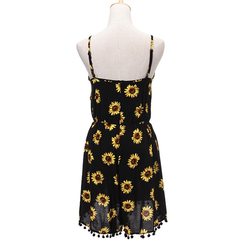 ed75487f2dbd S M L XL black yellow pom pom trim sunflower daisy print sleeveless ...