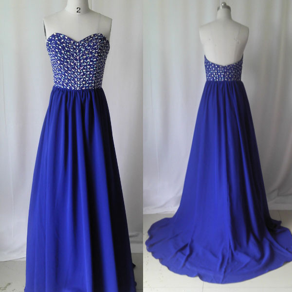 Royal Blue prom dress,Long prom dress,chiffon prom dress,Crystal ...