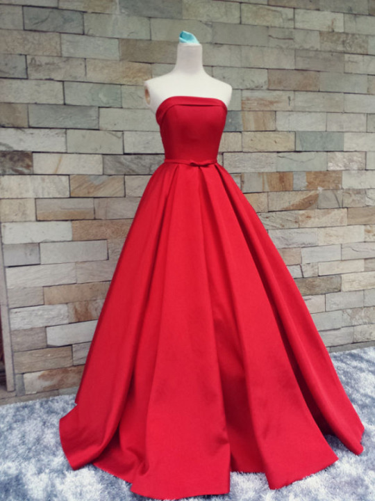 Elegant Red Strapless Satin Sexy Party prom dresses new style ...