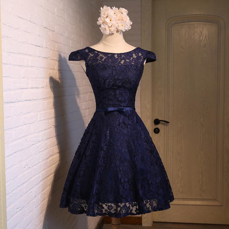 e002aed5139 Cute A-line dark blue lace short prom dress