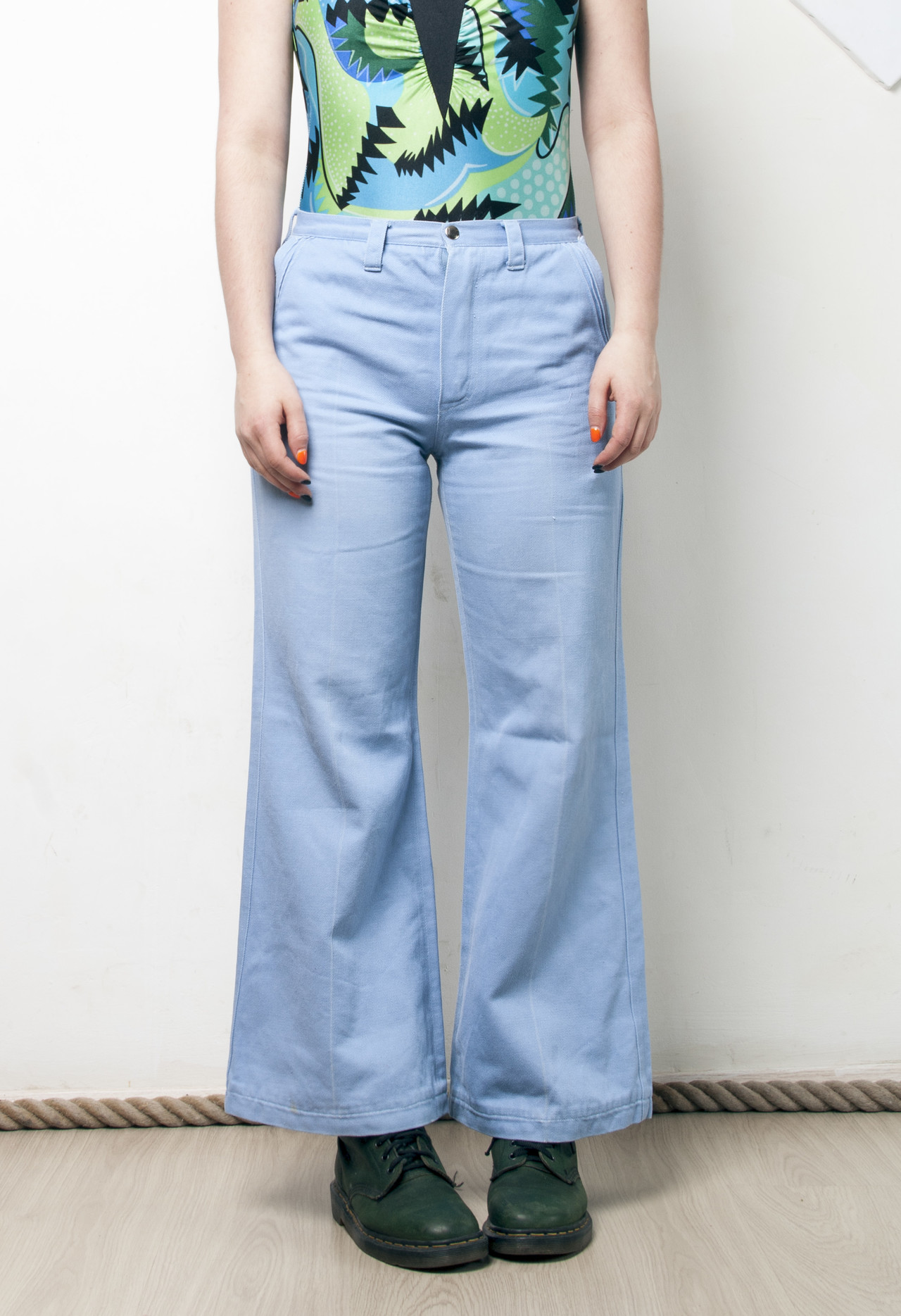 Pastel flares 70s vintage jeans from Pop Sick