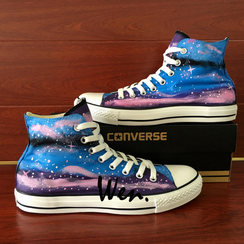 d935d8660b6071 Wen Hand Painted Shoes Purple Blue Galaxy Sky Unique High Top Canvas  Sneakers Gifts for Women Men on Storenvy