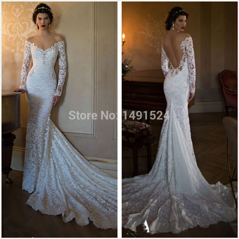 Lace Wedding Dresses 2017 Illusion Long Sleeve Bridal Gown Mermaid ...