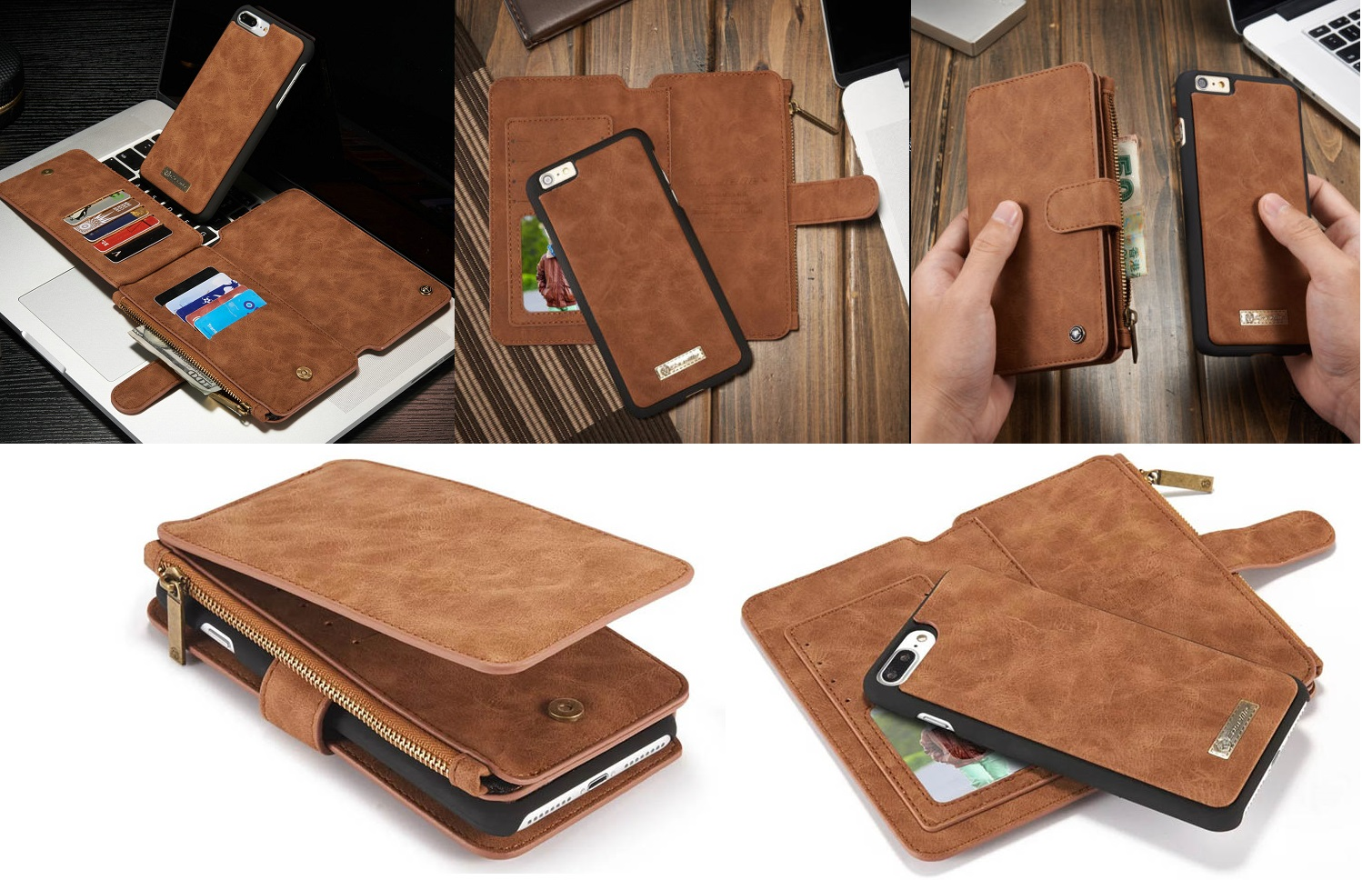 separation shoes 887c9 16d61 Leather Removable Wallet Magnetic Flip Card Case Cover for iPhone 7 ...