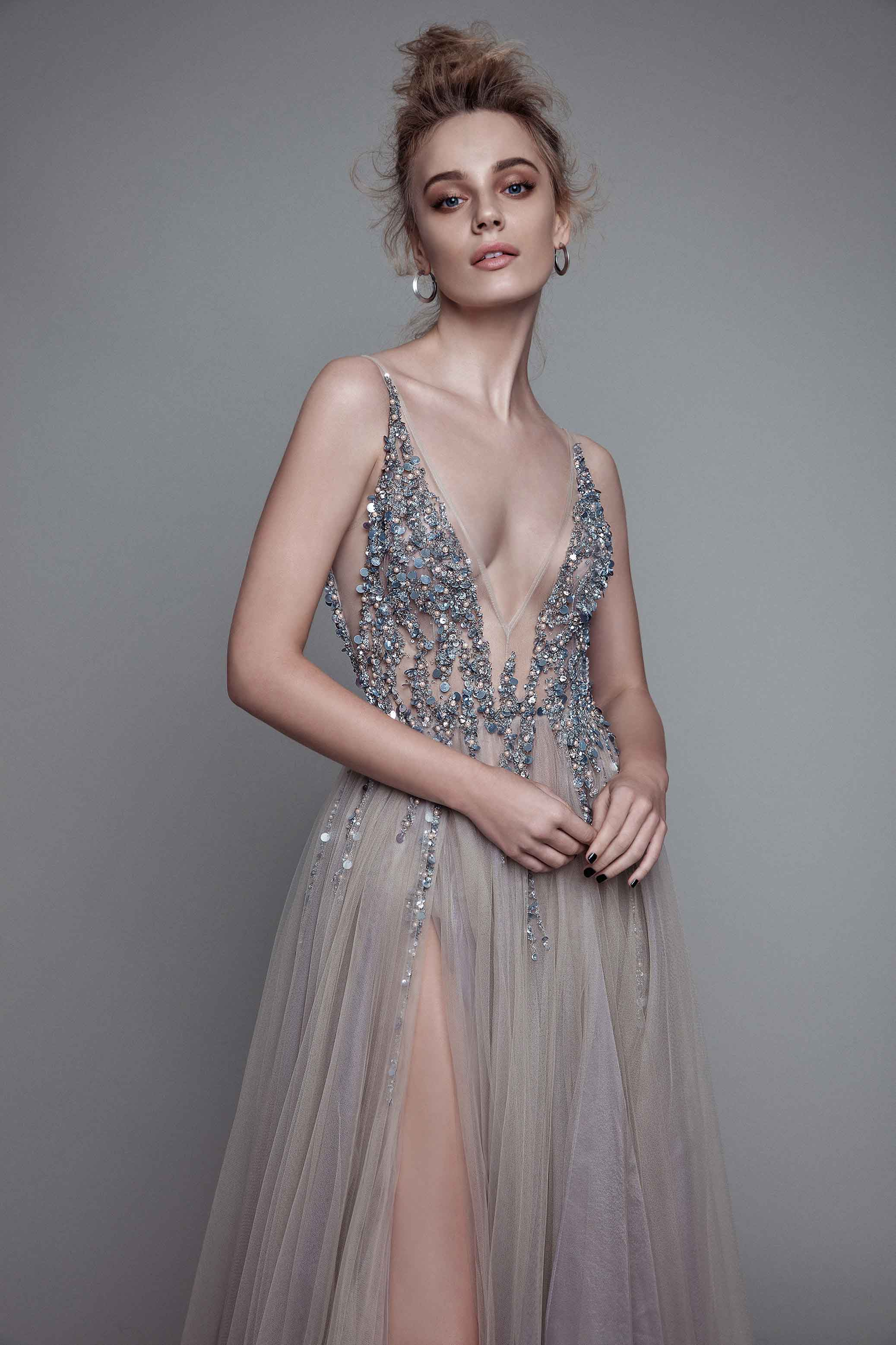 Ball Gown Gray Prom Dresses Grey LonCharming Prom Dress,Long-Sleeves ...