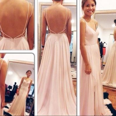 Pretty chiffon spaghetti straps V-neck light pink backless prom dress a7230203a