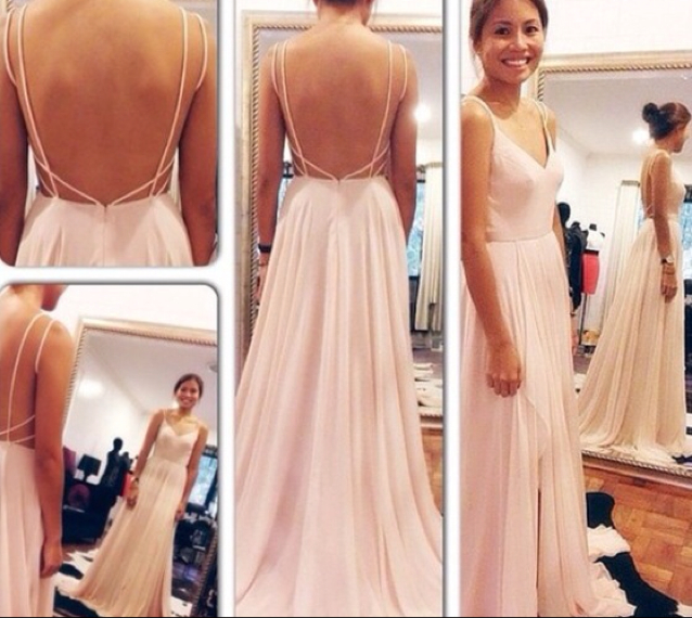 df965dc848 Pretty chiffon spaghetti straps V-neck light pink backless prom dress