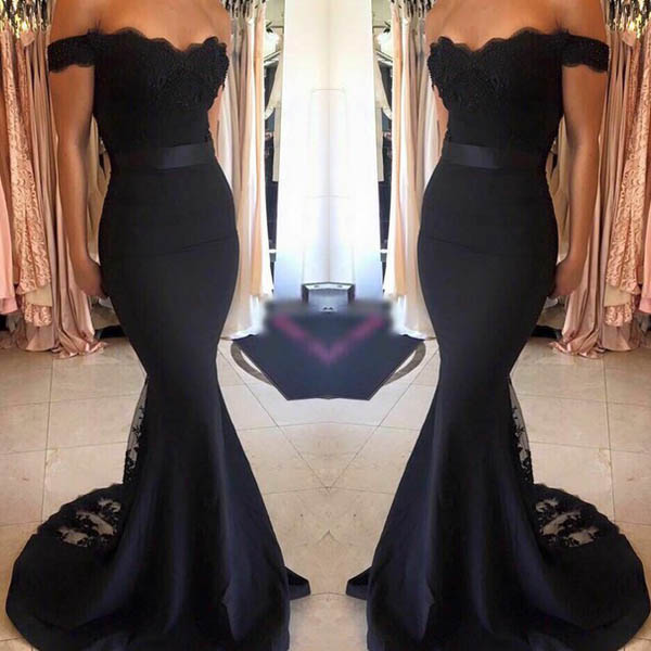 144d6d226ce3 Mordern Mermaid Off Shoulder Long Black Satin Bridesmaid Prom Dress With  Lace on Storenvy