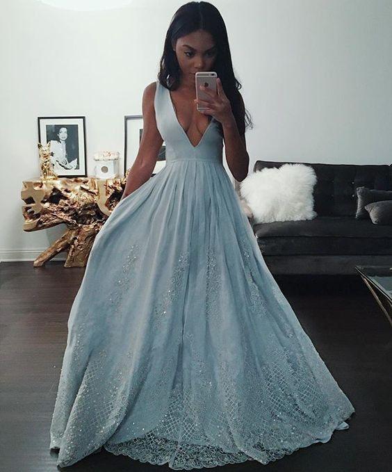 fd1cfd7583a Popular Light Blue Prom Dress