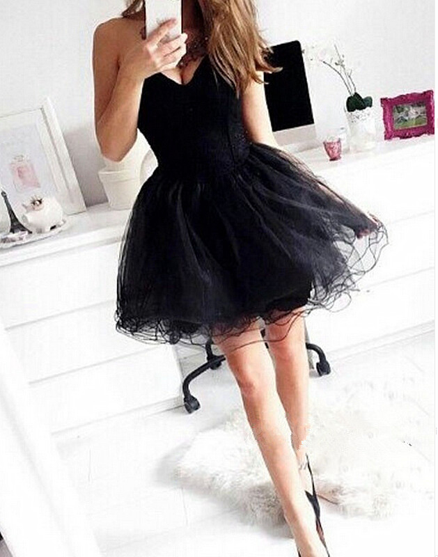 Mini Short Prom Dress Party Dress Cute Black Homecoming Dress Tulle Short  Prom Dress For Women a87a7a7c43