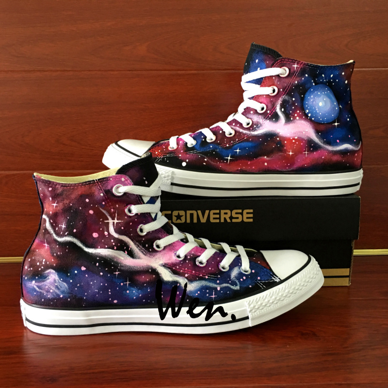 d1c32bccd4e5 Galaxy Converse All Star Wen Hand Painted Shoes Galaxy Space Universe  Custom High Top Canvas Sneakers Design Unique Gifts for Men Women on  Storenvy