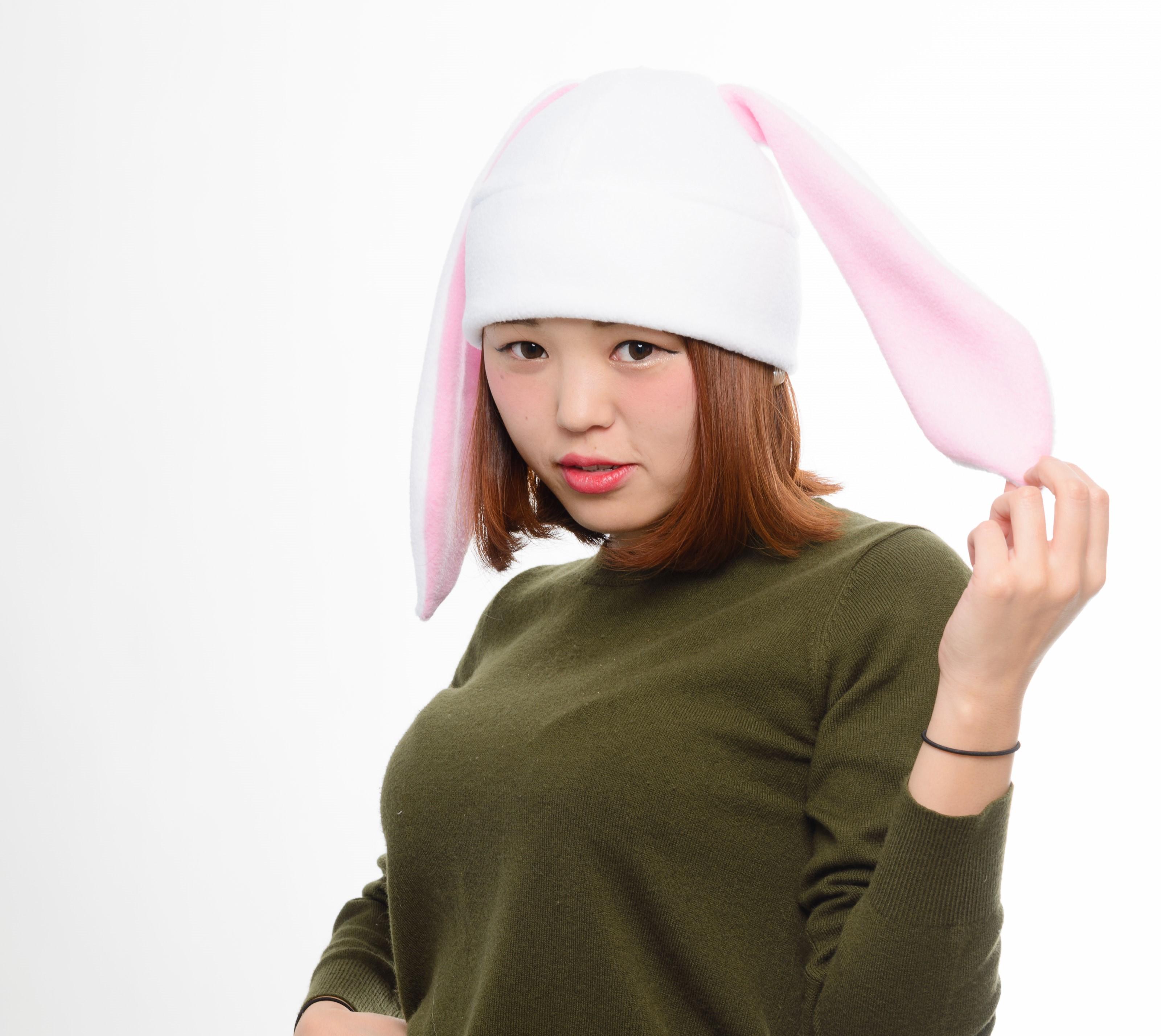 1e8d51460 White / pink bunny rabbit fleece hat cosplay anime manga ski snowboard