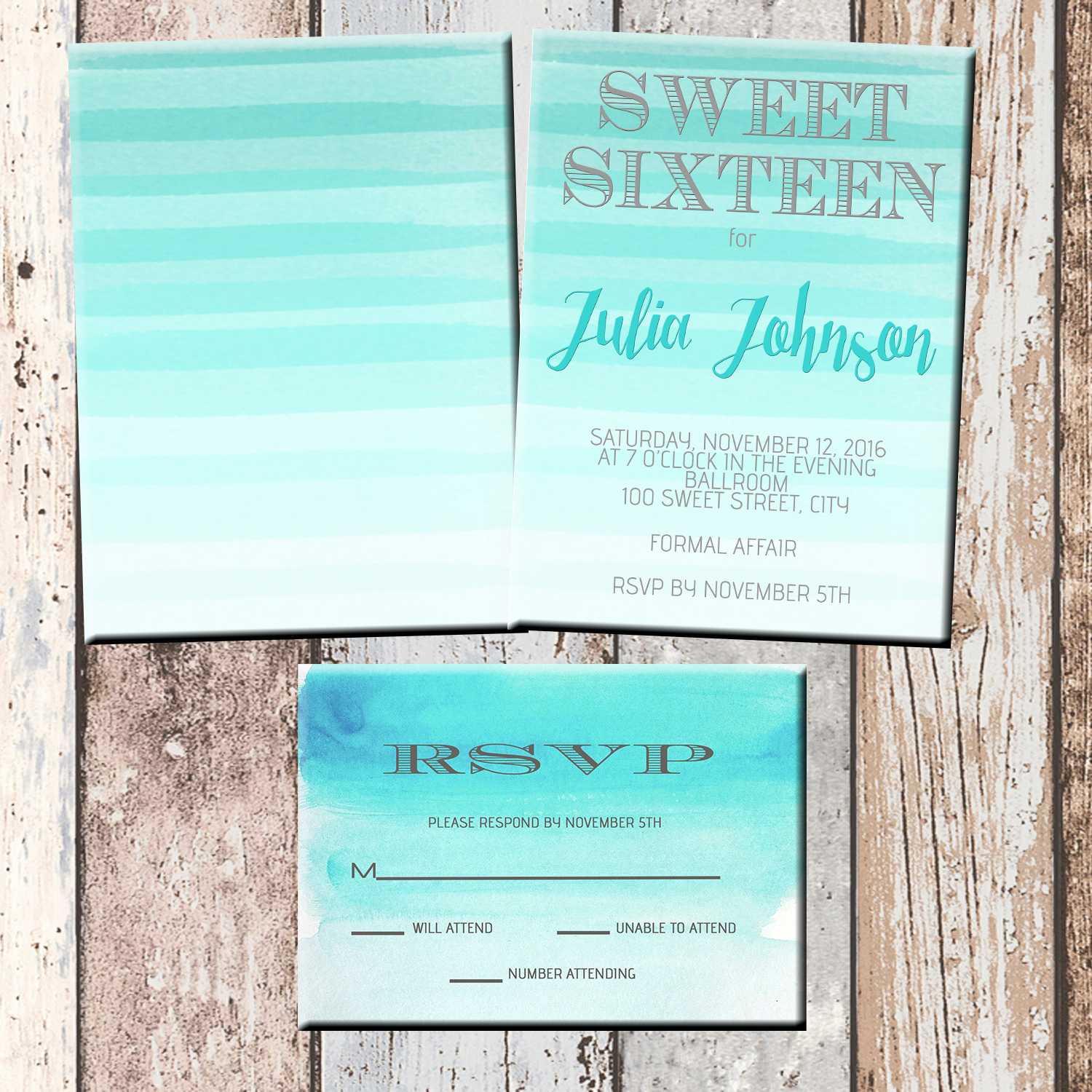 Aqua Ombre Quinceanera Or Sweet 16 Personalized Birthday Invitation 2 Sided Card Party