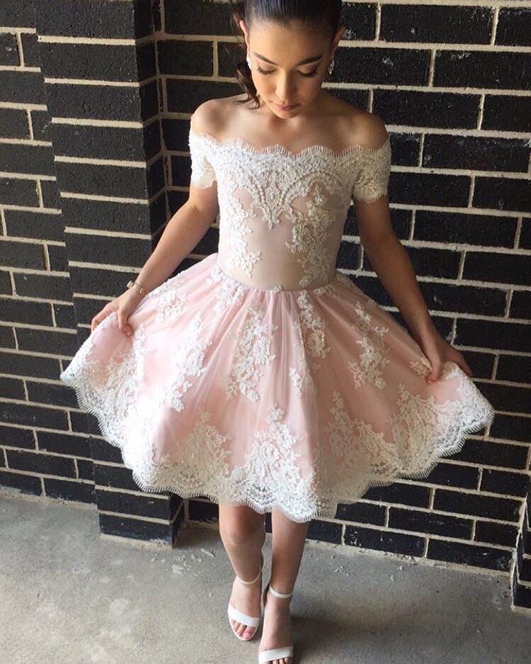 0a007a8ee19 Cute A-line Off-the-shoulder Pink Short Prom Dress with Lace Appliques