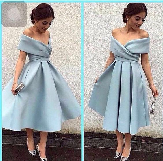 70877538fbb Off the shoulder Short Light Blue Prom Dress · modseleystore ...