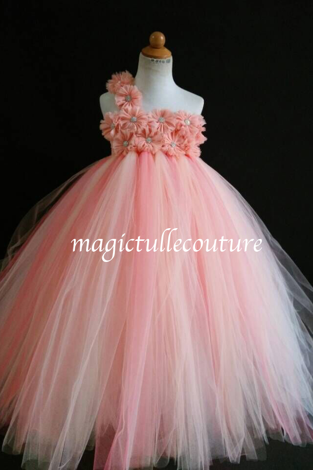 6e4be24ff Coral Peach Ivory Flower Girl Tutu Dresses Toddler Tutu Dresses, Wedding Tulle  Dresses, Girls