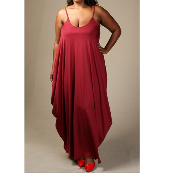 Plus Size Sleeveless Tank Jersey Maxi Dress with Pockets Burgundy sold by  Head2Toez Apparel