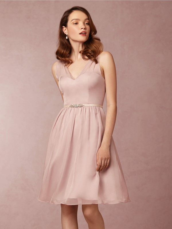 Simple Dusty Pink V Neck Knee Length Wedding Guest Dress New Bridesmaid Dress Fs938 From Romanticdress