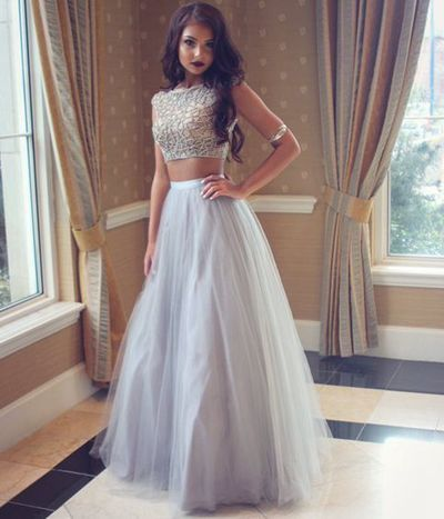 2pc Silver Tulle Prom Dress 2016 Simple Tulle Long Evening
