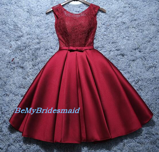 48eed8e12b7 Cute Burgundy Satin and Lace Short Prom Dresses, Wine Red Party Dresses, Short  HomecomING