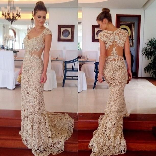 Lace Prom Dresses Long Prom Dresses Cap Sleeve Prom