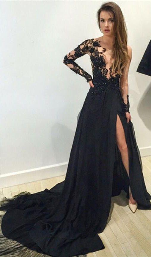 Sexy prom dress,Leg Slit prom dress, Black prom dress, long prom ...