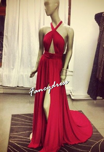 Backless Slit Red Prom Dresse