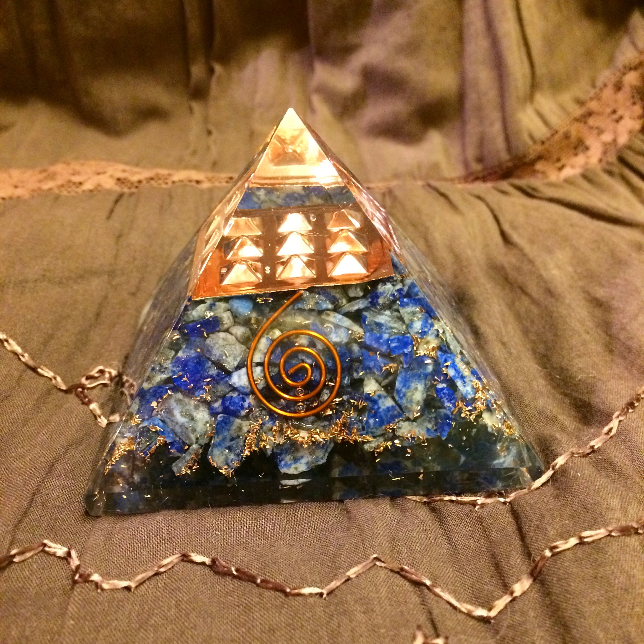 Orgone Lapis & Copper Pyramid from Rainbows of Healing Boutique