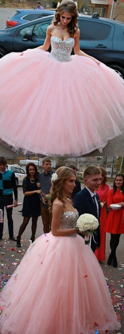 4b1b980c761 Modest Ball Gown Sweetheart Long Tulle Beading Quinceanera Dress Pink Sweet  15 Dresses 16 Gowns