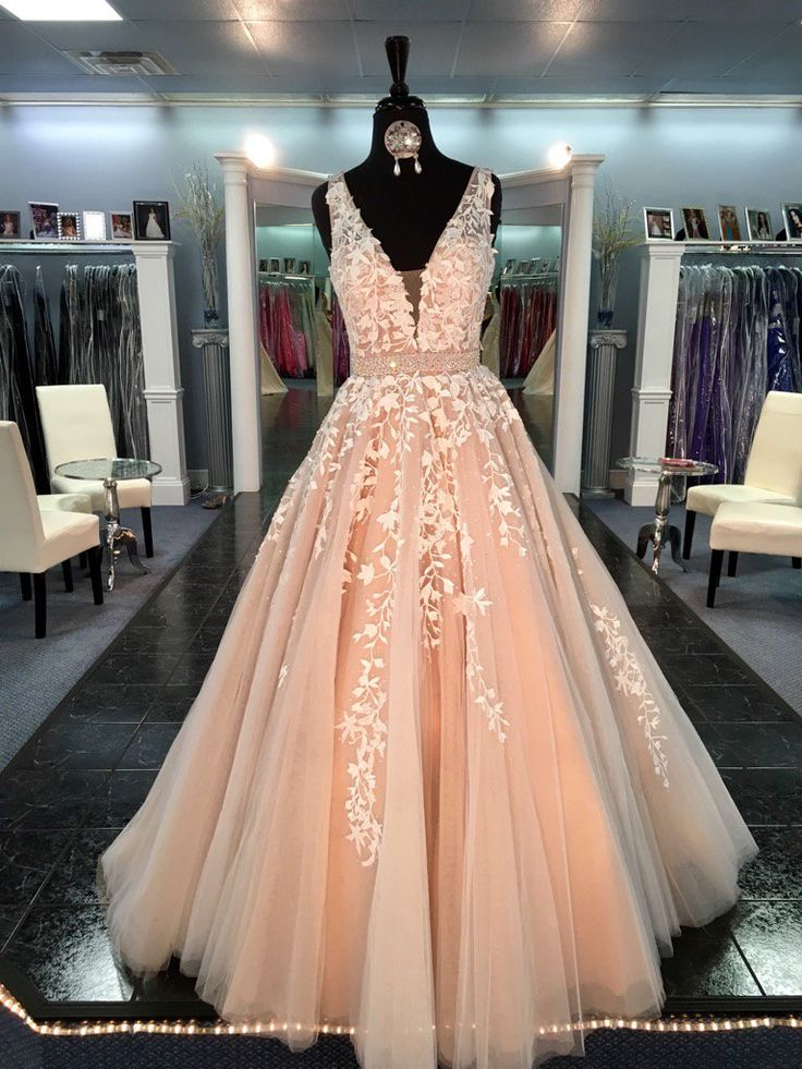 d529da774 Formal Dress | Beautiful V-neck lace tulle long prom dress,evening ...
