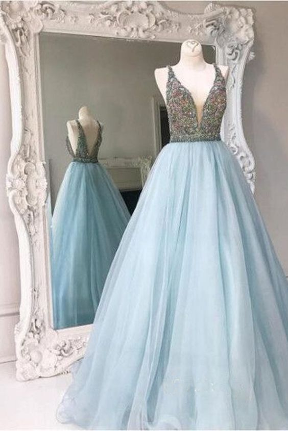 91b64c6ff4 Light Blue Backless A line Evening Prom Dresses