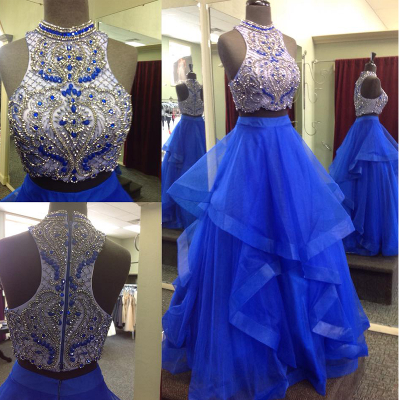 New 2 Pieces Royal Blue Ball Gown Prom Dresses,Two Pieces ...